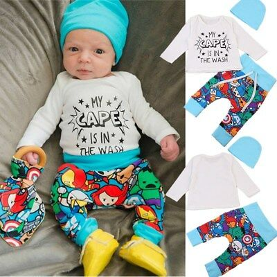 3PCS Newborn Baby Boys Tops Romper Pants Leggings Hat Outfits Clothes Set 0-24M