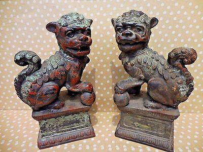Antique * HEAVY CAST IRON Foo Dog BOOKENDS  FABULOUS  Foo Dog Asian Collectible