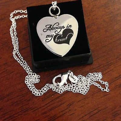 "Memorial Cremation Jewellery/Pendant/Urn/Keepsake for Ashes-""Always in my Heart"""