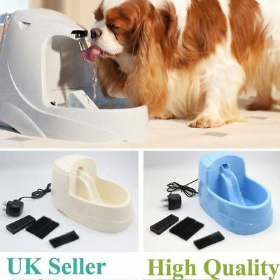 Automatic Dog Cat Water Drinking Flower Fountain Pet Electric Bowl Dink UK 2.5L