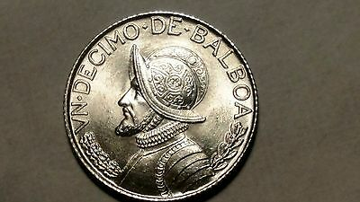 1962 Republic of Panama Silver 1/10 Balboa  - Free U.S. Shipping