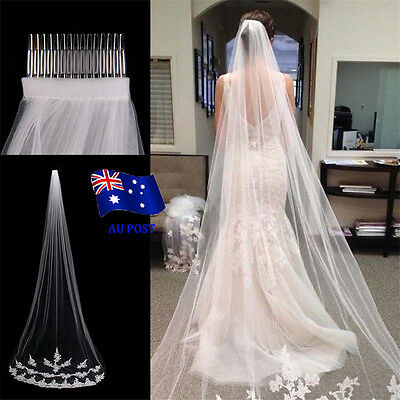 White Ivory 1T Cathedral Applique Edge Lace Bridal Wedding Veil With Comb 3M  EA