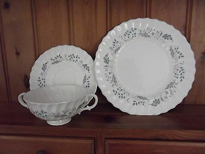 """Royal Doulton """"glen Auldyn"""" Soup Cup And Saucer And Side Plate"""