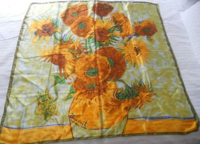 Pure Silk Scarf Square Vincent Van Gogh Sunflowers Print