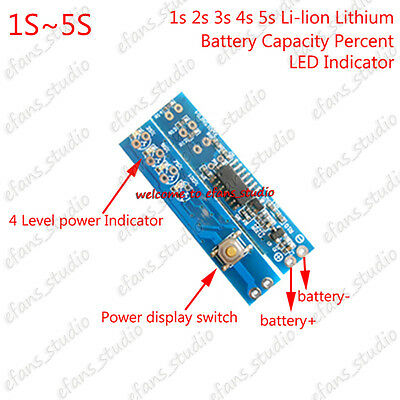 1S 2S 3S 4S 5S Lithium Charging Battery Capacity Percent Level LED Indicator NEW