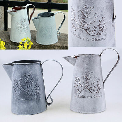 1PCS Retro Watering Cans Vintage Ornaments Metal Craft Vase Home Garden 2 Sizes