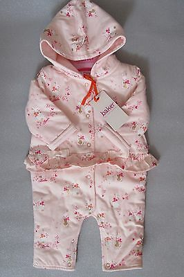 Ted Baker Baby Girl-Snuggle/pram Suit-Pink With Rabbits-0-3 & 3-6 Months-New