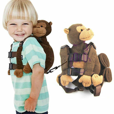 Monkey Safety Harness Strap Baby Kid Toddler Walking Cosplay Backpack Reins Bag