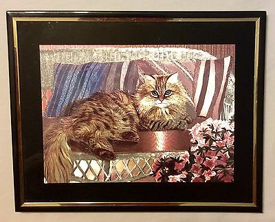 Framed Irredescent Cat / Kitten Picture 8x10 Wall Hanging Decor