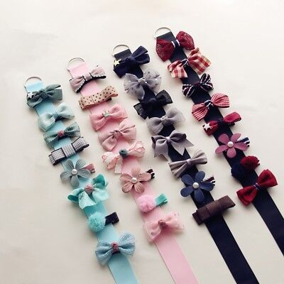 8Pcs Infant Baby Girl Hairpins Bowknot Flower Mini Barrettes Party Hair Clip