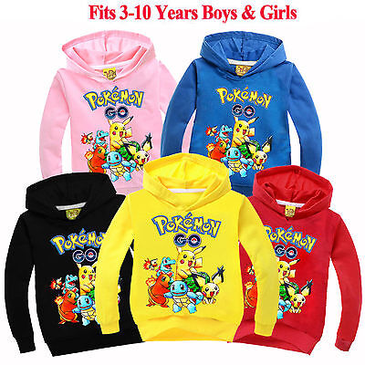 Pokemon Go Boys Girls Kids Clothes Pikachu Sweatshirt Cotton Hoodie Outwear Tops