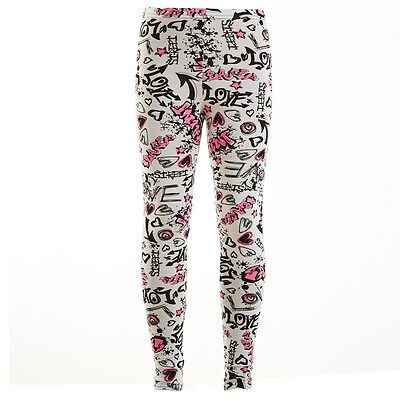 Kids Girls Graffiti Print Full Length Stretchable Legging Great Fit 7 - 13 Years