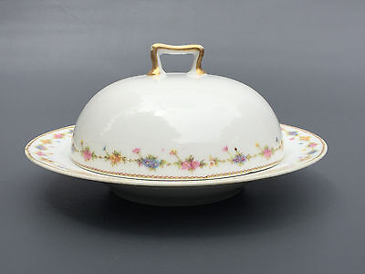 Antique EDWARDIAN Theodore Haviland Limoges china THE LOUVRE butter dish c.1902
