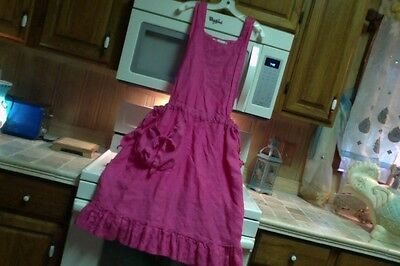 Magnolia Pearl Style Bonnie Harris linen jumper pinafore apron dress in hot pink