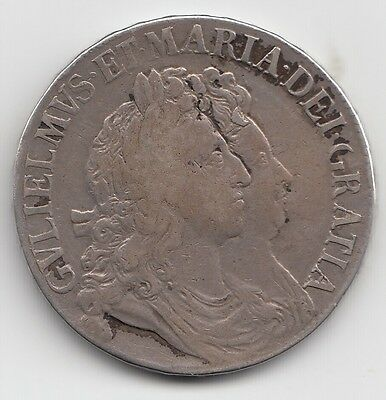 1692 William & Mary Crown 5/-
