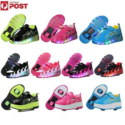 Retractable Kids Roller Skate Wheels LED Light Shoes Boys Girls Adults Sneakers