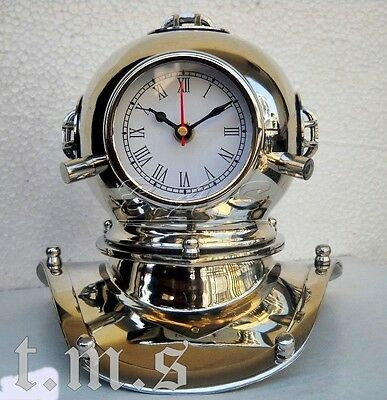 US Navy Antique Solid Brass Nickle Diving Divers Helmet Deep Sea With ClocK Gift