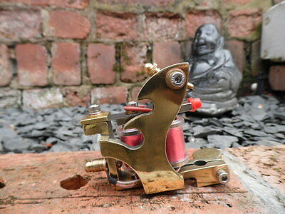 Hand Built Solid Brass Pro Tattoo Machines Flame Design Frame Red Coils Shader