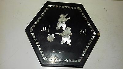 Antique Japanese black lacquered trinket box with mother of pearl inlay