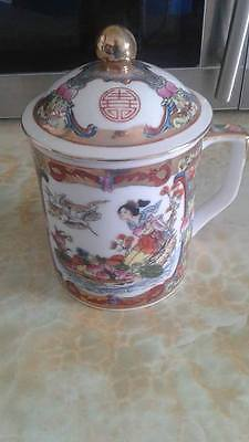 Oriental cup with lid China Red/Gold