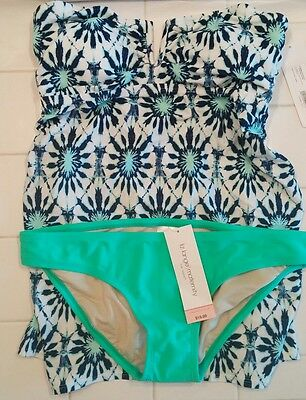 Womens Liz Lange maternity tankini 2 piece sz sm NWT whte blu grn top/grn bottom