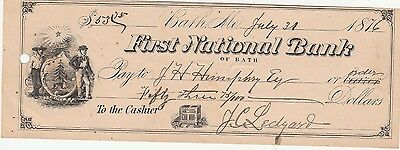 1876 FIRST NATIONAL BANK of BATH,  MAINE   WITH VIGNETTE
