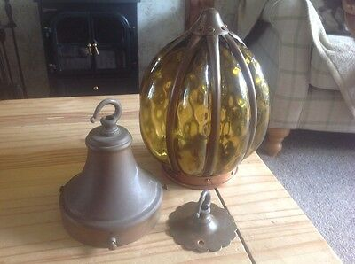 A stunning vintage,unusual copper and hand blown glass light fitting.WOW!!