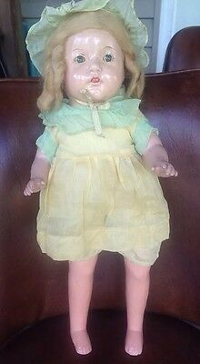 "19"" Composition Doll Original Clothes Mohair Open Mouth with Teeth"