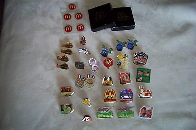 Lot of 29 McDonald's Pins, Stickers and Boxes, Crew Pins and More