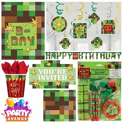 TNT Boys Birthday Minecraft Party Pixel Tableware Supplies Balloons Plates Cups