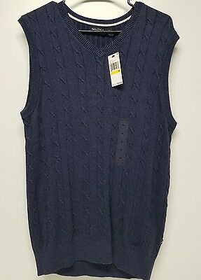 New Nautica Sweater Vest Blue Ribbed V-Neck Men's Size M NWT MSRP $89