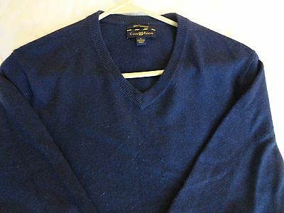 100% CASHMERE Men's Long Sleeve V-neck Sweater by Club Room Size-Small Navy Blue