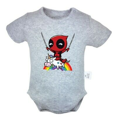 Disney deadpool riding a unicorn Newborn Jumpsuit Baby Romper Bodysuit Clothes