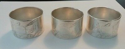 Set of 3 Christofle France Silverplate Napkin Rings Engraved Butterfly Lily of V