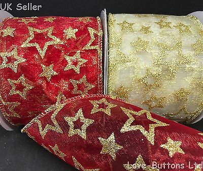 Wide 70Mm Wired Red Gold Christmas Ribbon Glitter Stars 2 Colours 10M Full Roll
