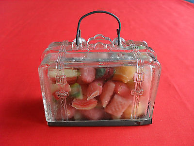 Vintage Figural Glass Suitcase Candy Container w/ Metal Closure