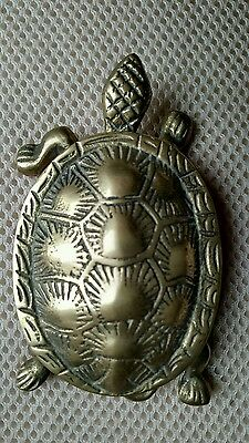 Rare Vintage SOLID BRASS TURTLE HINGED LIDDED Trinket Box/Ring Box 70's treasure