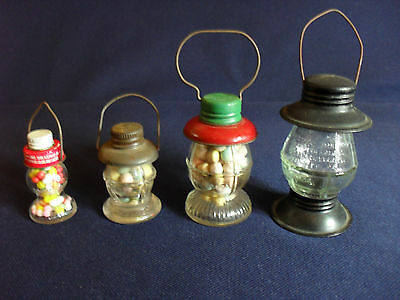 Vintage Figural Glass Lantern Candy Containers Lot of 4 Victory Stough Crosetti
