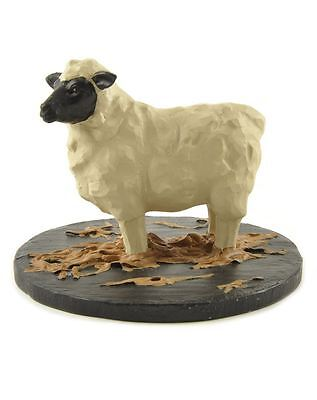 Sheep on Straw Resin Figurine Blossom Bucket Country Rustic Farm Animal Prim