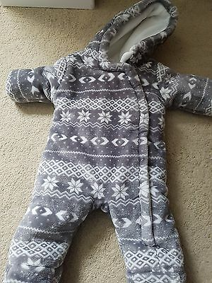 Baby Boys Grey Pramsuit Snowsuit, F&F, Up to 1 Months, New