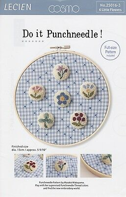DO IT PUNCHNEEDLE! 6 LITTLE FLOWERS PUNCHNEEDLE PATTERN, From Lecien Japan NEW