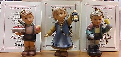 Bertha Hummel Goebel Christmas Ornaments-Set 18-3 NIB w/COAs - 097