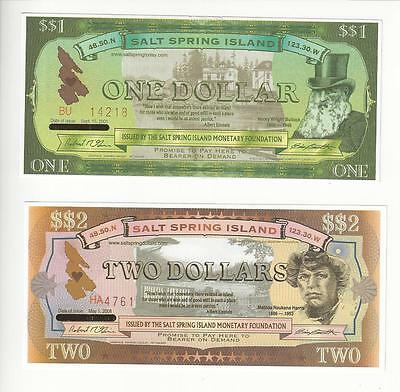 Canada Salt Spring Island  Local Community Currency 1$ 2$ Pair  Nice Unc
