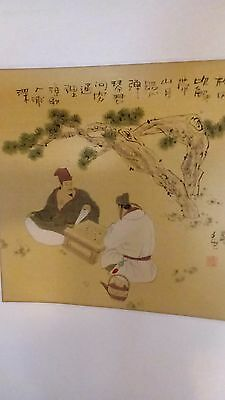 Antique vintage Chinese scholar scroll painting calligraphy