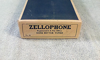 Vintage Antique Wood and metal ZELLOPHONE No. 60in original BOX