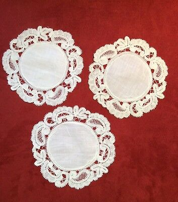"""Great Matching Trio of 5 1/2"""" Antique White Linen & Handmade Lace Round Doilies"""