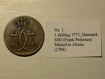 Denmark 1771, 1 Skilling, Minted in Altona 1784, Thick C,  #G5561
