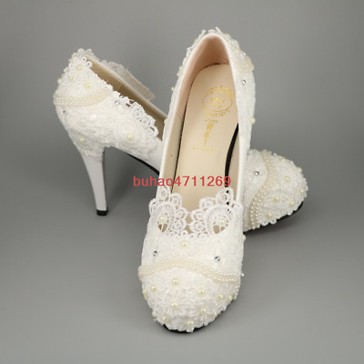 """3"""" 4 """" heel white ivory lace crystal pearls Wedding shoes pumps bride size 5-10"""