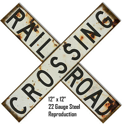 Aged Looking Reproduction Railroad Crossing Laser Cut Out Metal Sign 12x12