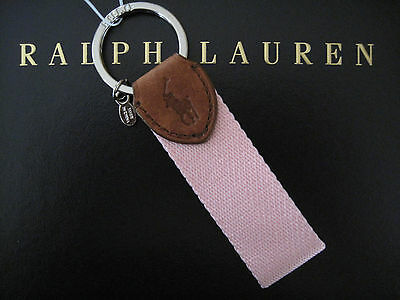 NEW RALPH LAUREN Polo FOB Key Chain Keychain Pink Fabric with Leather Trim